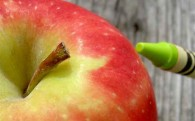 Apple with a crayon for the (design) teacher