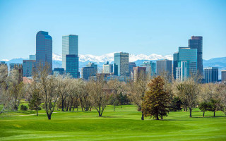 Denver Skyline and Mountains